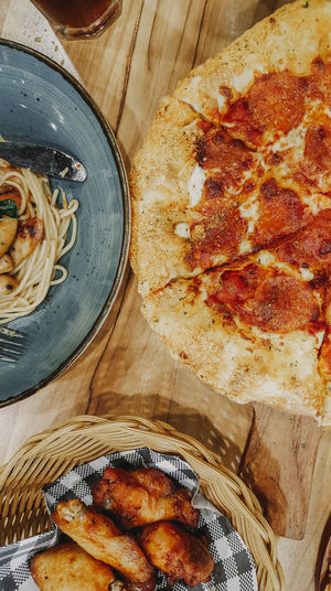 Chicken Spaghetti Pizza Food Dinner Lunch Directly Above High Angle View Table Close-up Food And Drink Prepared Food