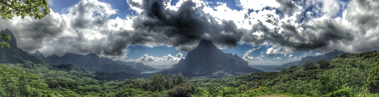Beauty In Nature Cloud - Sky Day Landscape Moorea Mountain Mountain Range Nature No People Outdoors Scenics Sky Tranquil Scene Tranquility