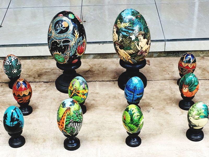 Beautifully Organized Painted Eggs Lined Up Creative Art And Craft Displayed Beautiful Colourful Nobody Colour Image Variety Gamut Bali, Indonesia Travel And Tourism Tidy
