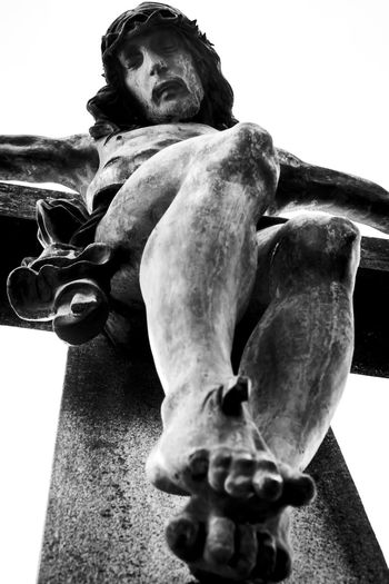 Christ's belvedere in Petrópolis, Rio de Janeiro, Brazil. Bw_collection Catolic Catolicism Christ Crucifix Faith Low Angle View Religion Religous Religous Icons Sculpture Statue