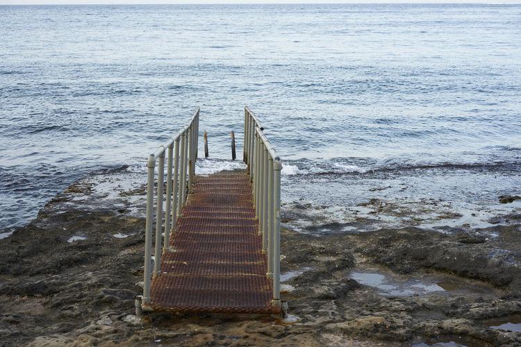 Empty Walkway At Sea Shore