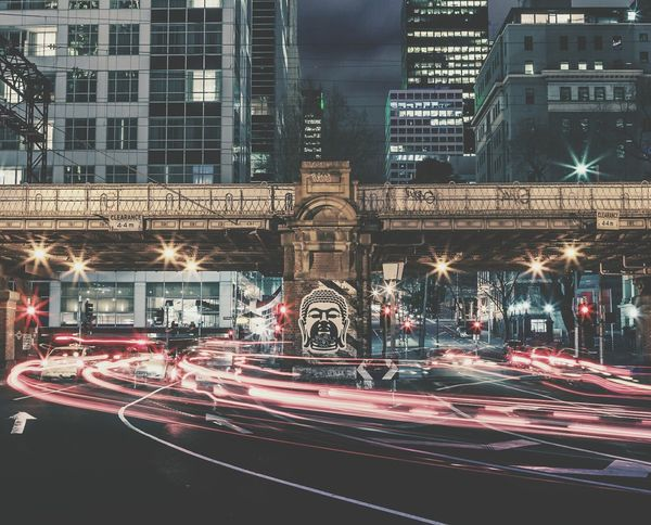 Illuminated City Night Architecture Light Trail Traffic Building Exterior Long Exposure Motion Speed Built Structure Transportation City Street City Life Road Cityscape No People Office Building Exterior Outdoors Travel Destinations EyeEm Melbourne Melbourne City Architecture Street Art Streetart