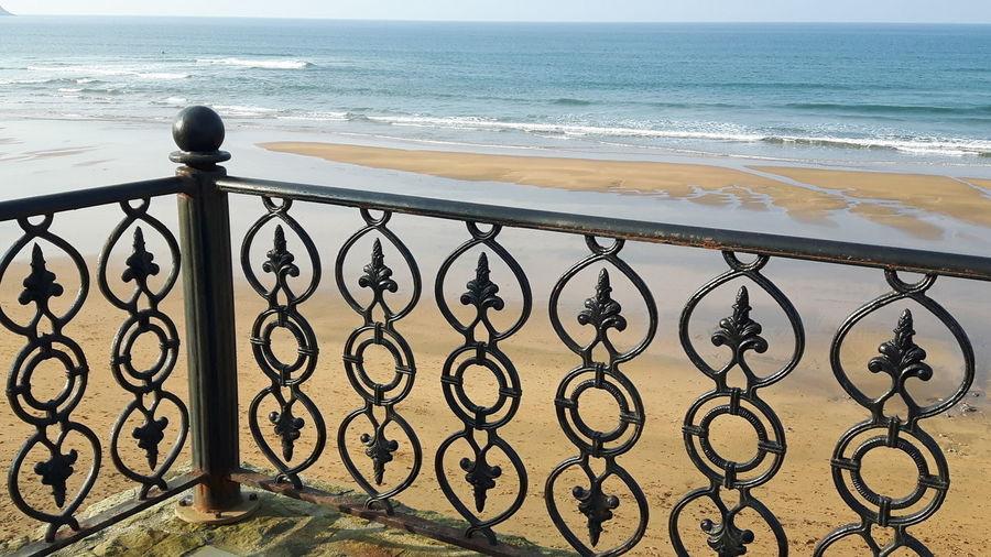 Playa. Zarautz Sun Water Sea Beach Protection Sky Horizon Over Water Chainlink Fence Fence