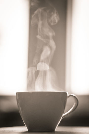 Hot steaming coffee Coffee Time Steam Black And White Blackandwhite Close-up Coffee Cup Day Delicious Delicious Coffee Hot Coffee Indoors  Moody No People Sepia First Eyeem Photo