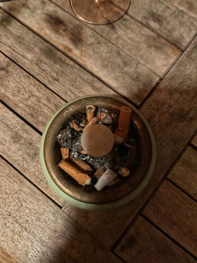 Cigarette Butts Table Wood - Material High Angle View Still Life Indoors