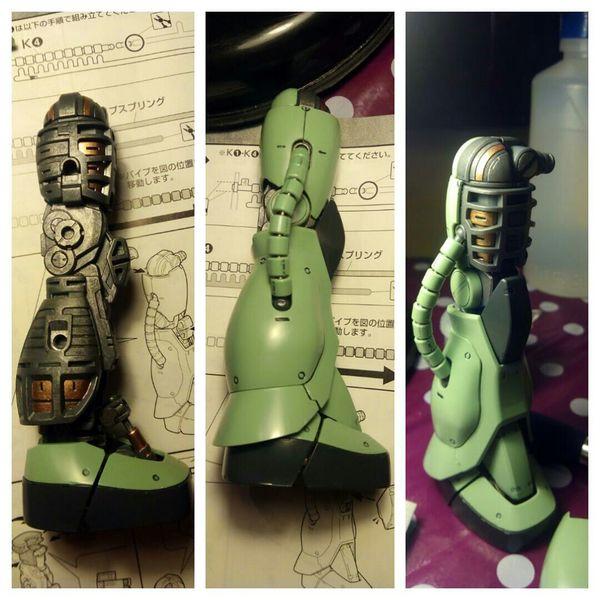 Zaku II MS-06J MG update - right leg. Gundam BANDAI Zaku Gunpla Modelkit