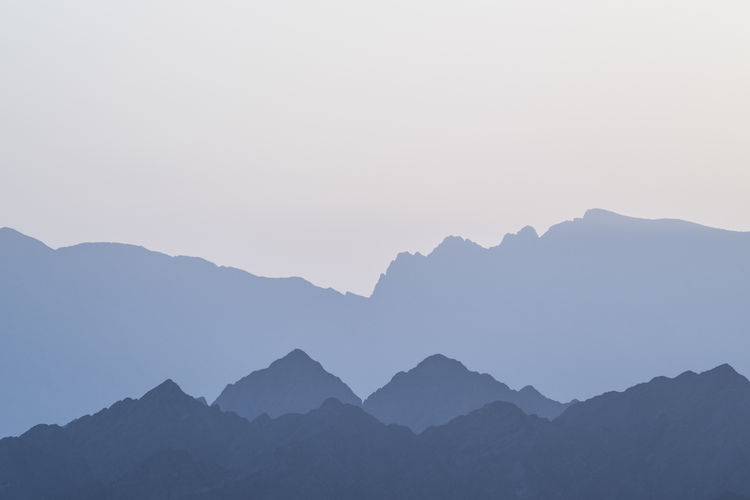 Silhouette mountains against clear sky