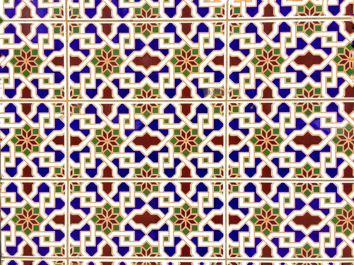 Full Frame Backgrounds Pattern Design Multi Colored Tile Flooring Art And Craft Tiled Floor Indoors  No People Large Group Of Objects Shape Creativity Repetition Textured  Close-up Mosaic Geometric Shape Textile