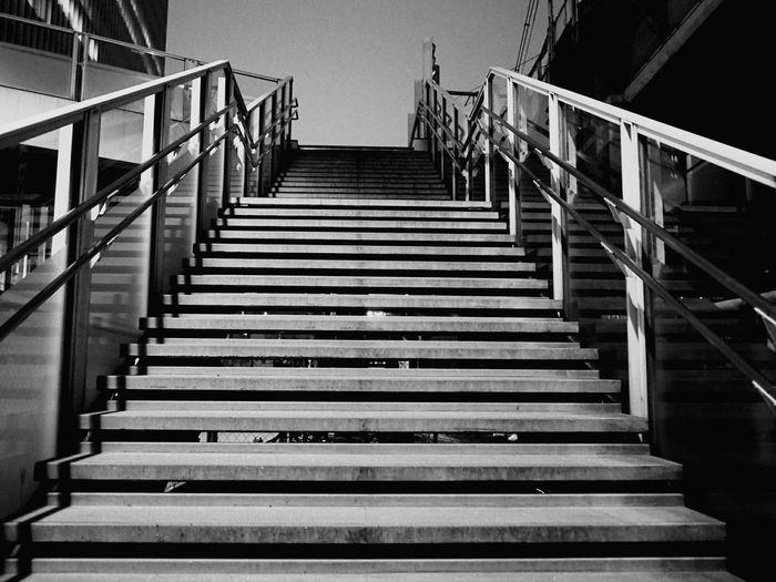 Staircase Steps And Staircases Steps Accidents And Disasters Clear Sky Blue Sky Outdoors No People Climbing Night Blackandwhitephoto Blackandwhite Photography Monochrome _ Collection Blackandwhitephotos Cityscape Blackandwhiteonly Blackandwhitepics Black And White Collection  Architecture Monochrome World City Blackandwhite Walking Street