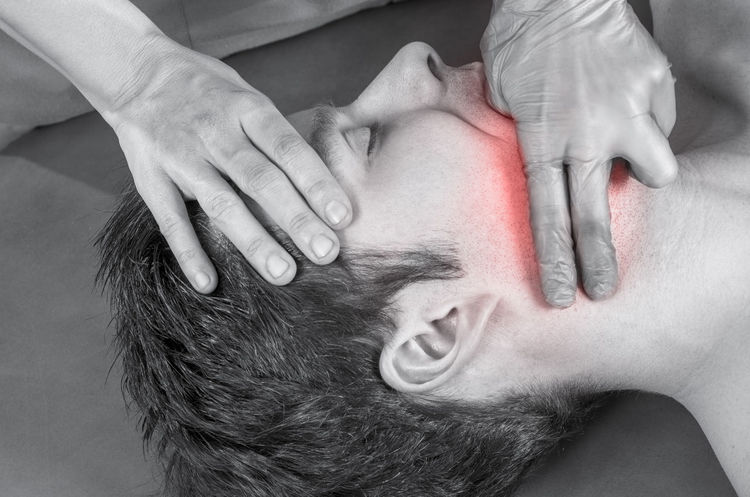 Physiotherapist, chiropractor is doing intraoral technique of massage masseter muscle. Osteopathy Back Doctor  Man Medicine Pain Therapy Woman Cervical Chiropractor Clinic Healthcare And Medicine Injury Manipulation Massage Medical Muscles Muscular Patient person Physiotherapy Professional Stretching Therapist
