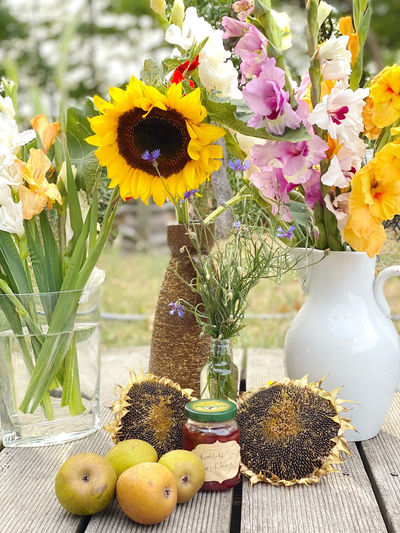 Close-up of sunflowers on table