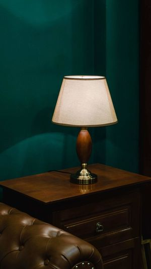 Electric Lamp On Table At Home
