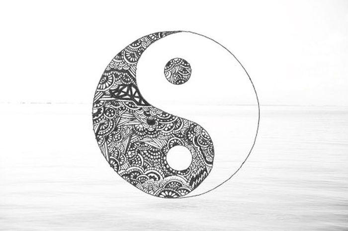 Monochrome Ying Yang Asian