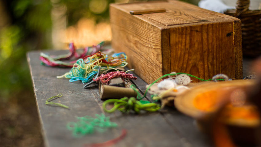 bits and bobbins Sewing Twine Close-up Day No People Outdoors Selective Focus Table Twine, Cord, Yarn, Thread, Strand, String Wood - Material