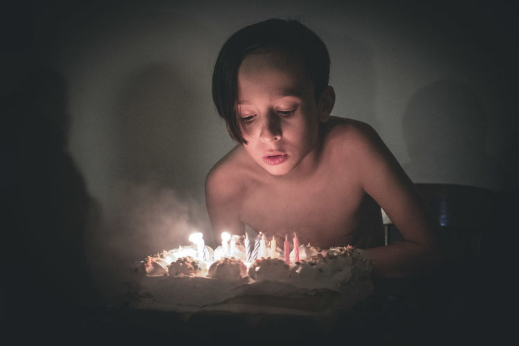 Birthday Birthday Party Cake Little Boy Childhood Child Blowing Out The Candles Birthday Celebration! Growing Up Birthday Cake Flame Burning Heat - Temperature Birthday Candles Glowing Shirtless Candle Matchstick Exploding
