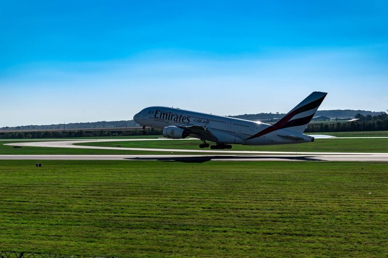 A 380 Nikon D5600 Sky Plant Green Color Airplane Day Field EyeEmNewHere Air Vehicle Clear Sky Nature No People Mode Of Transportation Grass Land Blue Transportation Outdoors Environment Copy Space Travel Landscape