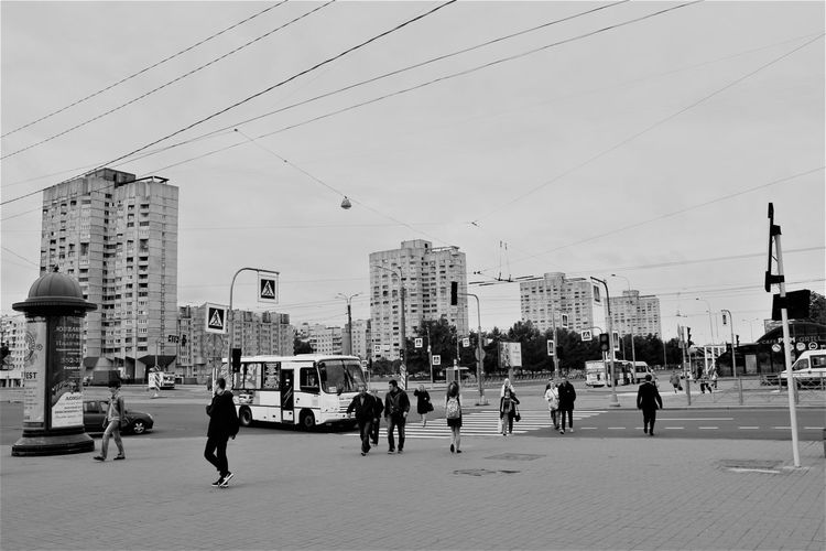 City Life Russia россия Adult Architecture Building Exterior Built Structure Cable City Day Large Group Of People Men Monochrome Outdoors People Real People Sky