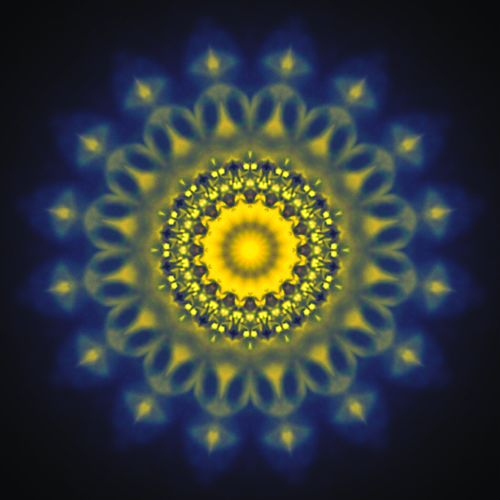 """""""Mandala"""" (2016) Abstract Abstraction Mirror Effect Abstract Art Fluid Geometry Floral Pattern Mandala Art No People Colorful Blue Color Yellow Color Glowing Soft Light Circular Pattern Repetition Pattern"""