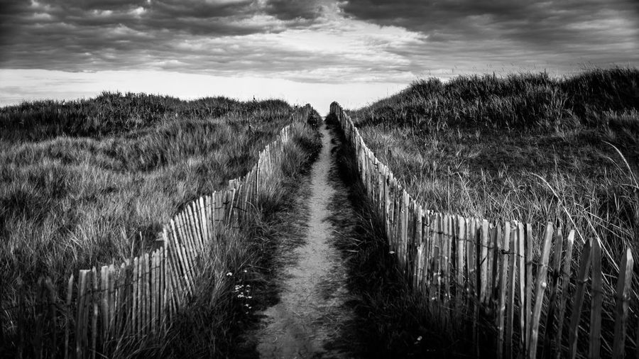 St Andrews Boardwalk Black And White Blackandwhite Photography Eyeem Scotland  Cloud - Sky Rural Scene Agriculture Landscape Environment Beauty In Nature Diminishing Perspective The Way Forward Tranquility Direction