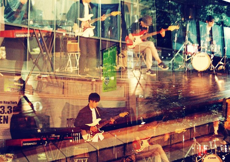 EyeEmNewHere Eos7s Night Musician Streetlive Street Band Jazz Film Photography Double Exposure