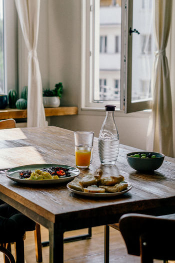 Breakfast on table at home