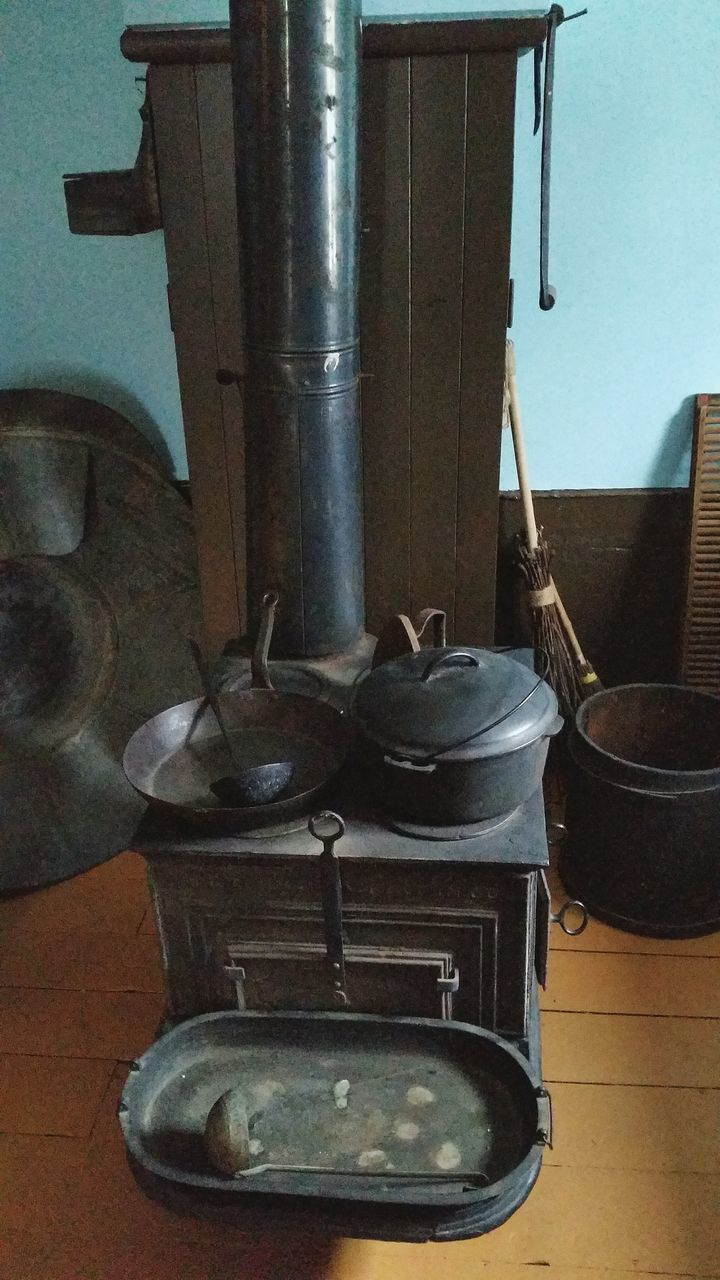 indoors, no people, metal, table, close-up, stove, day