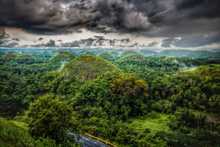 Beauty In Nature Chocolate Hills Cloud - Sky Cloudy Day Green Green Color Green Color Growth Hills Landscape Nature No People Outdoors Phillipines Scenics Sky Street Tranquility Tree Traveling Home For The Holidays EyeEmNewHere