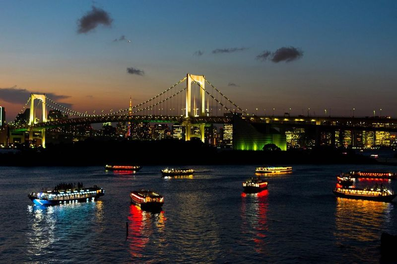 Rainbow bridge - Tokyo Photooftheday Japan Romantic City Nikon Lights Bridge The Traveler - 2018 EyeEm Awards EyeEmNewHere Water Built Structure Architecture Transportation Sky Bridge City Bridge - Man Made Structure Illuminated Nautical Vessel Travel Destinations River Waterfront Cityscape Outdoors Connection Building Exterior