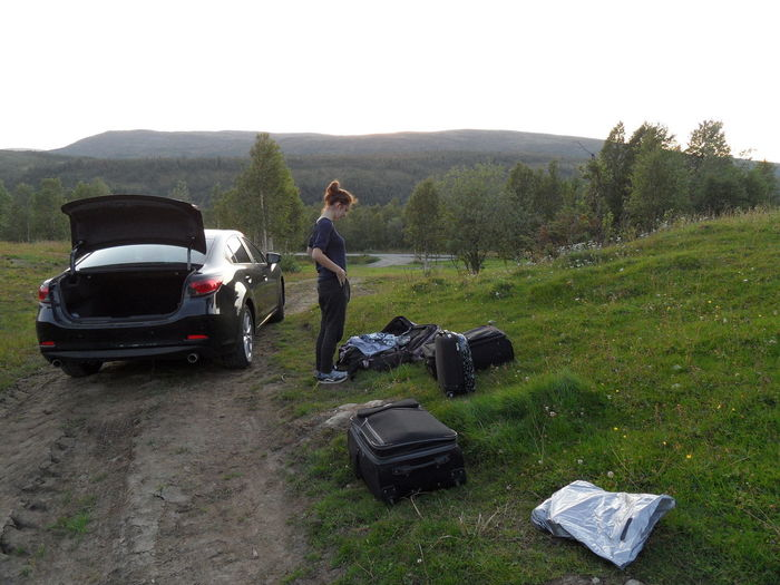 My daughter, my sunshine ☀ Car Children Photography Clueless Day Enjoying Life Girl Grass Helpless Holiday Feeling Landscape Landscapes Luggage Nature Nature Photography Norway One Person Outdoors Real People Suitcases Too Much Luggage Traveller Tree_collection  Trondheim Vacation Time