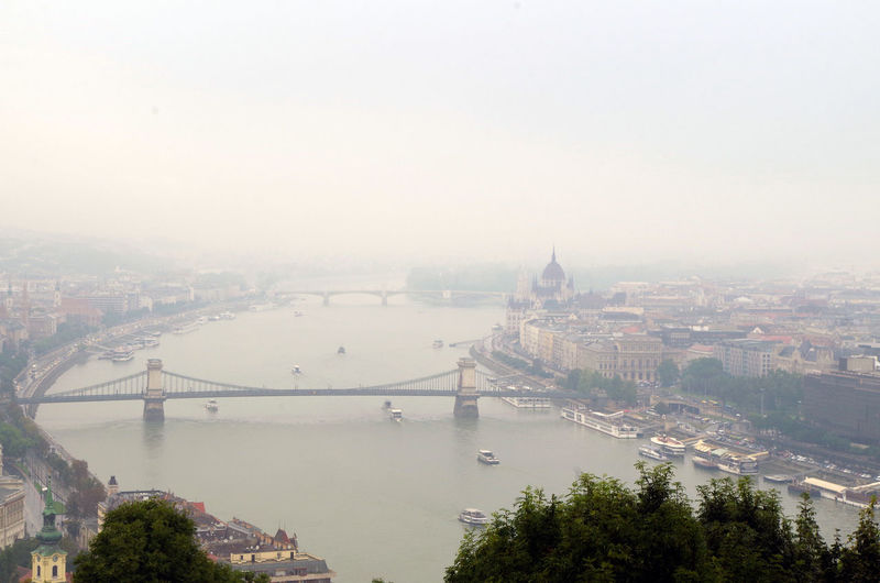 High angle view of chain bridge over danube