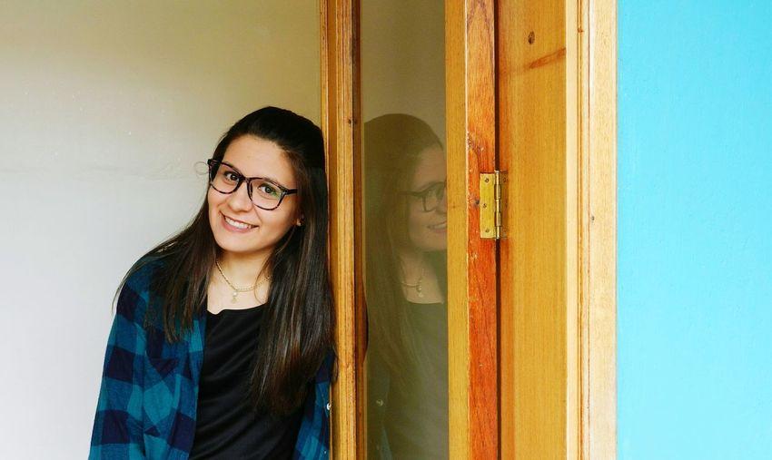 Portrait Eyeglasses  Smiling Young Women Beautiful Woman Happiness Looking At Camera Women Window Modern Hospitality