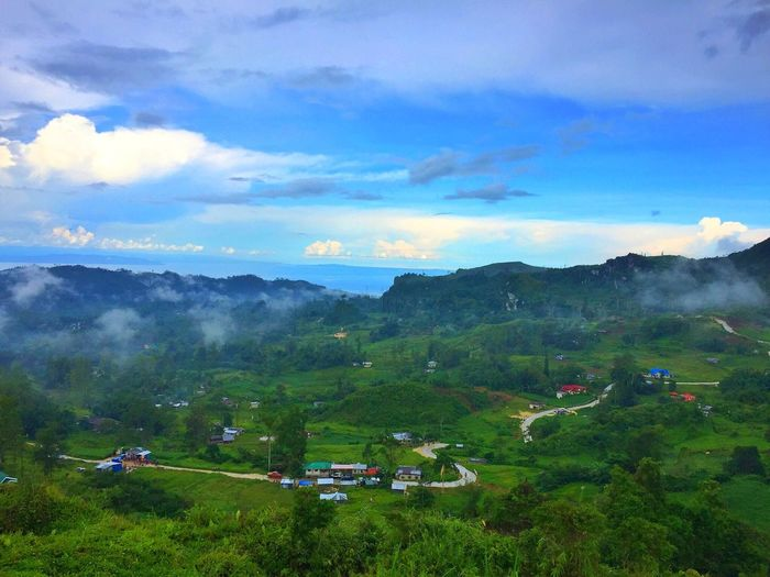 Sky Landscape Beauty In Nature Field Scenics Nature Cloud - Sky Tree Mountain Outdoors Day Green Color Mountain Range Blue Sky Travel Destinations Tourism Scenery Fog Cebu City, Philippines Osmeña Peak