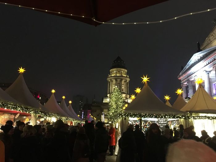 Gendarmenmarkt Berlin Night Illuminated Group Of People Building Exterior Architecture Built Structure Large Group Of People Celebration Christmas Lights Christmas Decoration Decoration Christmas