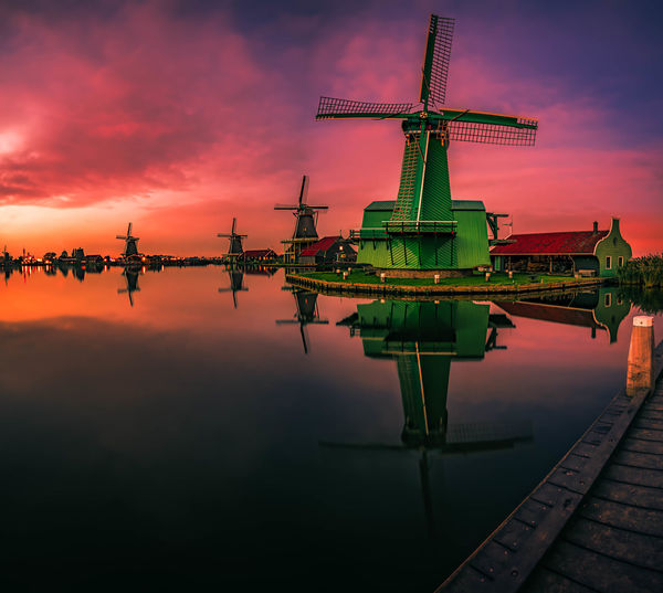 Zaanse Schans a Quick 20 mins drive from Amsterdam leads you to a Fairy Tale Land !!! Beautiful as it looks and feels :-) Beauty In Nature Clouds And Sky Colors Dutch Europe Europe Trip Green Color Green Green Green!  Happiness Happy Holiday Holidays Long Exposure Love Reflected In Water Reflections Remo SCarfo Sunset Touristical Tourists Travel Traveling Tulips Windmill Zaanse Schans