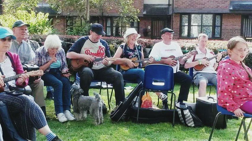 Where else do you see these quintessential British scenes?Ukelele Britishness English Tradition People Eccentricity Eccentric People Summer2016 Happiness Leisure Activity Smiling Adult Sitting Men Music Mature Adult Musical Instrument Fun Young Adult Enjoyment Outdoors Arts Culture And Entertainment Cheerful Group Of People In A Row Break The Mold TCPM