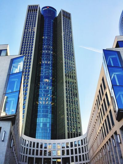 Messeturm Frankfurt Architecture Building Exterior Built Structure Low Angle View Skyscraper Modern City Day Outdoors Blue No People Clear Sky Sky Messeturm Frankfurt Am Main