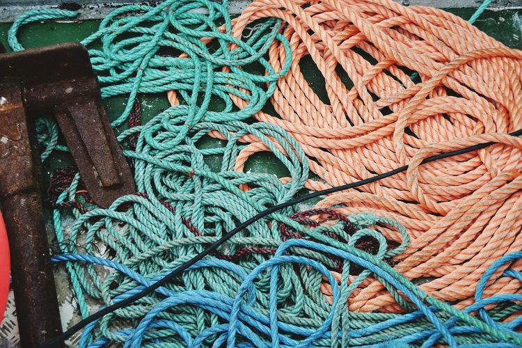 High angle view of ropes on fishing boat
