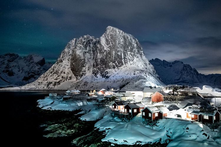 Lofoten Islands Nature Tranquil Scene Sky Sea Mountain Winter Scenics - Nature Water Cold Temperature Snow Snowcapped Mountain No People Outdoors Beauty In Nature Fishing Village Norway ✌