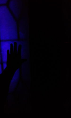 """Knock knock: i know you there"" Indoors  Dark Illuminated Nightlife Real People Human Hand Human Dilemma Human Mind Crimes Of Passion Blue Light Blue Background Lights Close-up Shot Unrecognizable Person Silence Creepy Window Window To The Soul"