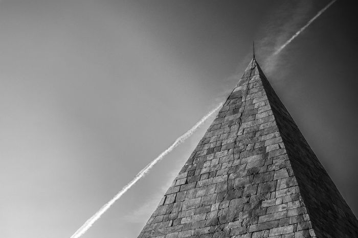 Sky Airplane Rome Italy Pyramid Pyramid Triangle Shape History Vapor Trail Sky Architecture Built Structure Pyramid Shape Triangle Egyptian Culture Civilization Architectural Detail Ancient The Past Ancient Civilization Archaeology Ancient Egyptian Culture Ancient Rome Old Ruin Geometric Shape Go Higher