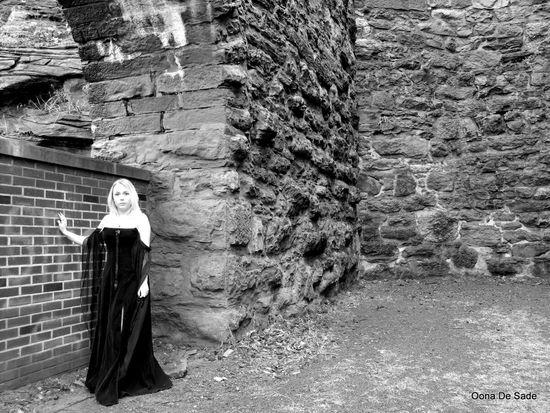 Casey Blonde Girl Gown Velvet Stone Wall Brick Wall