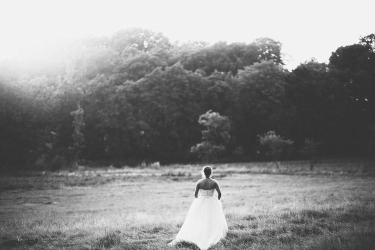 Bride Walking Through A Field