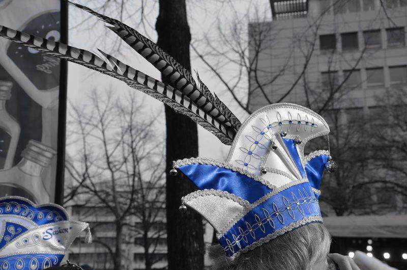 Carnival Crowds And Details Narrenkappe. Blue Silver  Cap Karneval Berlin Photography Carnival Hat Karnevalshut Mütze Hut Kappe Blue Cap The Street Photographer - 2017 EyeEm Awards