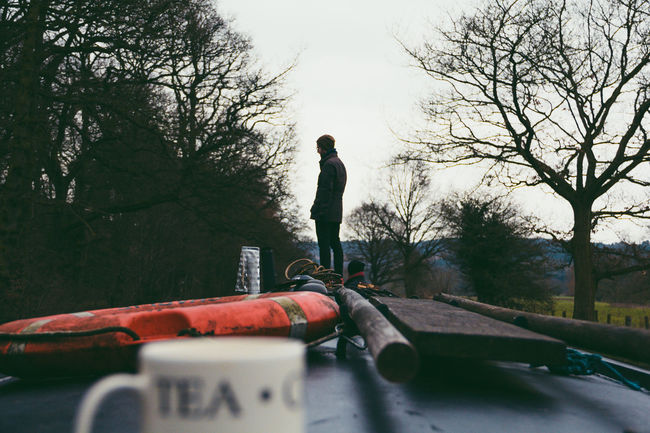 Absence Adventure Finding New Frontiers Bare Tree Boat Canal Countryside Depth Of Field Direction Focus On Background Guidance Landscape Lifestyles Miles Away Mug Narrow, Outdoors Real People Tea Selective Focus Staffordshire Travel Tree Silhouette Tea Time