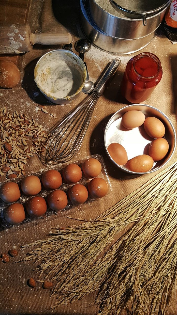 egg, food and drink, raw food, flour, ingredient, preparation, food, freshness, indoors, high angle view, egg yolk, directly above, bowl, brown, healthy eating, egg carton, close-up, no people, day