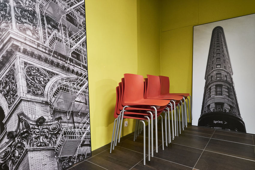 Abstract Architecture Black And White Building Built Structure Chairs Indoors  Jellow No People Photo Photography Plakat Red Rythm Walls
