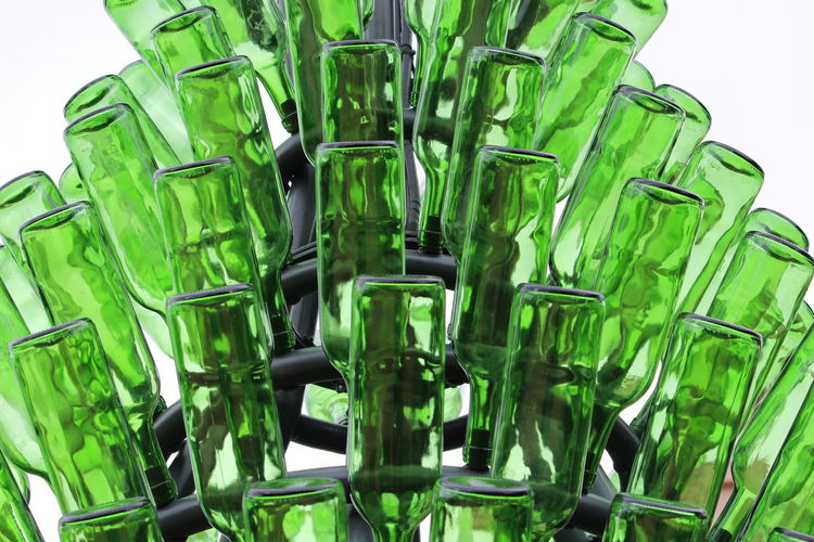 Green Color No People Indoors  Close-up Still Life White Background Large Group Of Objects Studio Shot Glass - Material Transparent Abundance Container Food And Drink Glass Focus On Foreground Bottle Science Green Food Leaf