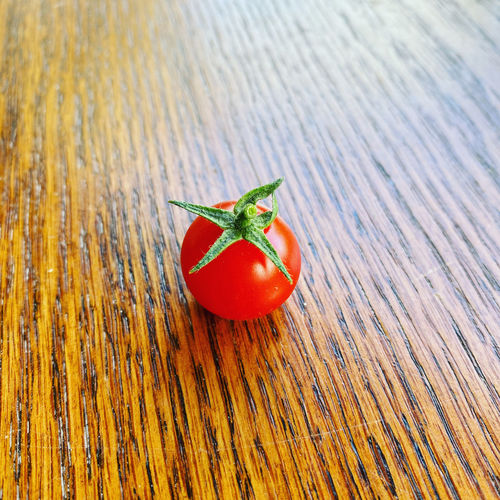 High angle view of tomatoes on table