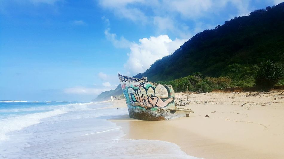 Nyangnyangbeach No People Shipwreck Beach Sea Sand Cloud - Sky Wave Nautical Vessel Water Nature Day Outdoors Horizon Over Water Sky Travel Destinations Beauty In Nature