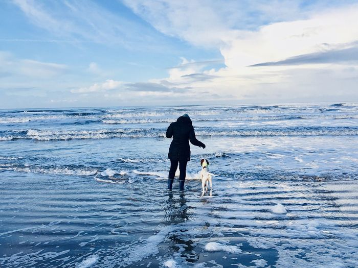Woman with dog wading in frozen sea against sky